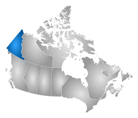 Map of Canada with the provinces, filled with a radial gradient, Yukon is highlighted.