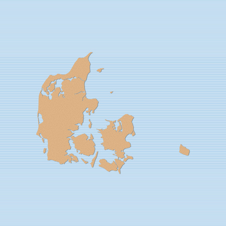 danmark: Map of Danmark in brown on a blue background.