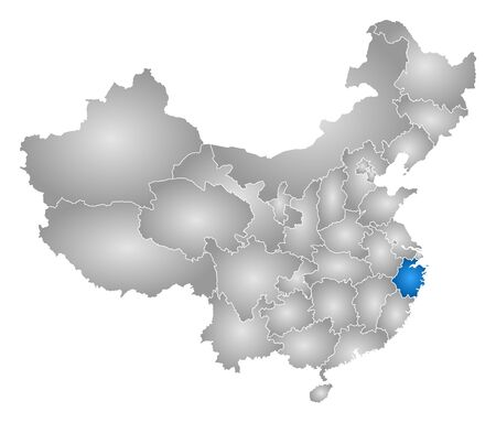 tone shading: Map of China with the provinces, filled with a radial gradient, Zhejiang is highlighted.