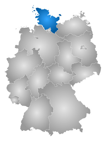 federal republic of germany: Map of Germany with the provinces, filled with a radial gradient, Schleswig-Holstein is highlighted.