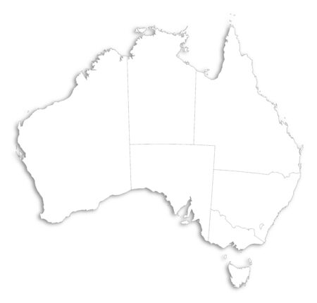 australie: Map of Australia as a white area over its shadow.