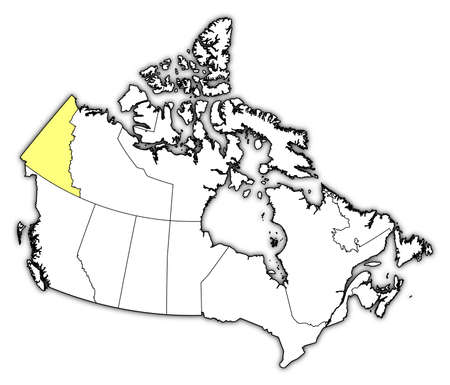 yukon: Map of Canada with the provinces, Yukon is highlighted in yellow. Illustration