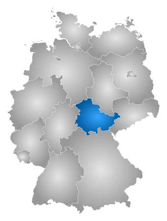 Map of Germany with the provinces, filled with a radial gradient, Thuringia is highlighted.
