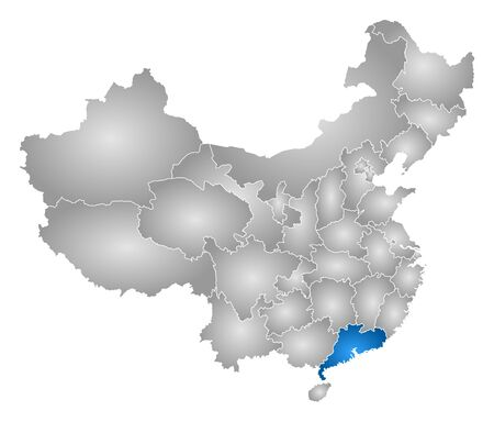 tone shading: Map of China with the provinces, filled with a radial gradient, Guangdong is highlighted. Illustration