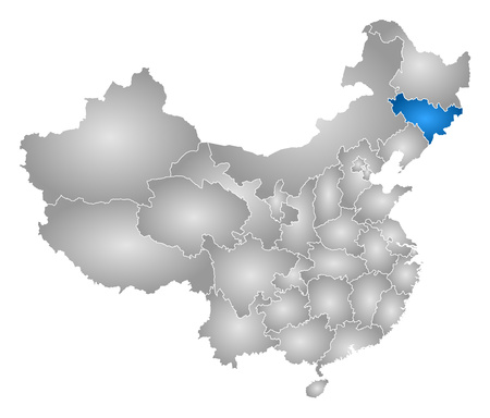 prc: Map of China with the provinces, filled with a radial gradient, Jilin is highlighted.