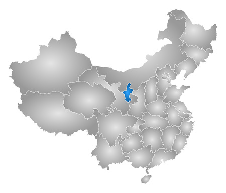 Map of China with the provinces, filled with a radial gradient, Ningxia is highlighted.