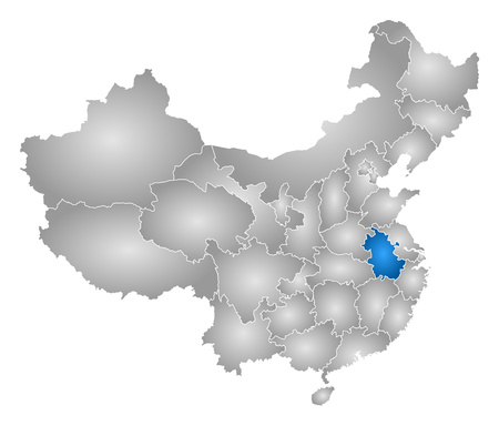 anhui: Map of China with the provinces, filled with a radial gradient, Anhui is highlighted.