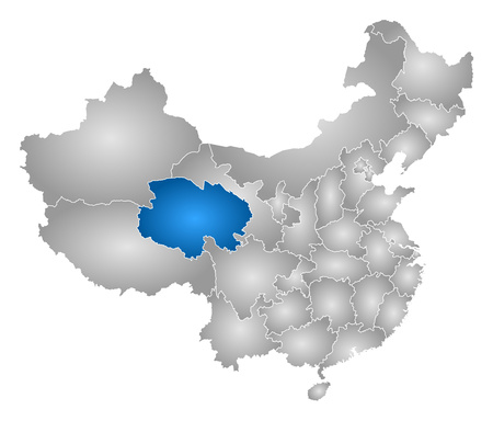 prc: Map of China with the provinces, filled with a radial gradient, Qinghai is highlighted.