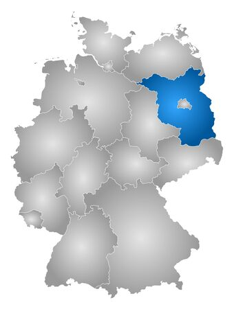 federal republic of germany: Map of Germany with the provinces, filled with a radial gradient, Brandenburg is highlighted. Illustration