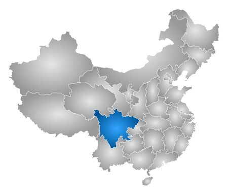prc: Map of China with the provinces, filled with a radial gradient, Sichuan is highlighted.