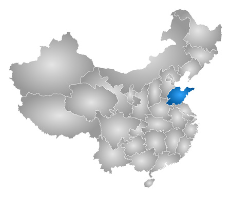 prc: Map of China with the provinces, filled with a radial gradient, Shandong is highlighted.
