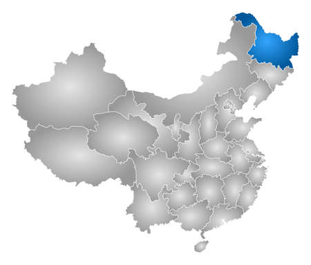 subdivisions: Map of China with the provinces, filled with a radial gradient, Heilongjiang is highlighted. Illustration