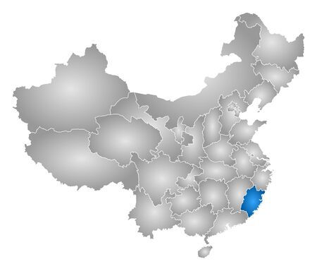 prc: Map of China with the provinces, filled with a radial gradient, Fujian is highlighted. Illustration
