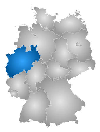 Map of Germany with the provinces, filled with a radial gradient, North Rhine-Westphalia is highlighted.
