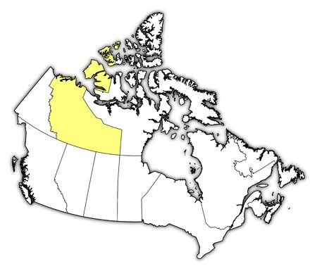 territories: Map of Canada with the provinces, Northwest Territories is highlighted in yellow.