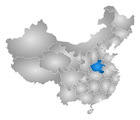 Map of China with the provinces, filled with a radial gradient, Henan is highlighted. Illustration