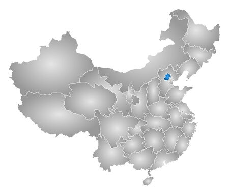 Map of China with the provinces, filled with a radial gradient, Beijing is highlighted. Illustration