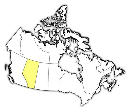 alberta: Map of Canada with the provinces, Alberta is highlighted in yellow.