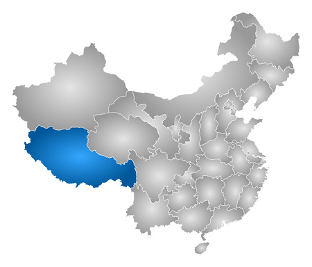 tibet: Map of China with the provinces, filled with a radial gradient, Tibet is highlighted.