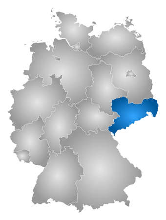 Map of Germany with the provinces, filled with a radial gradient, Saxony is highlighted.