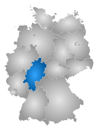 federal republic of germany: Map of Germany with the provinces, filled with a radial gradient, Hesse is highlighted.