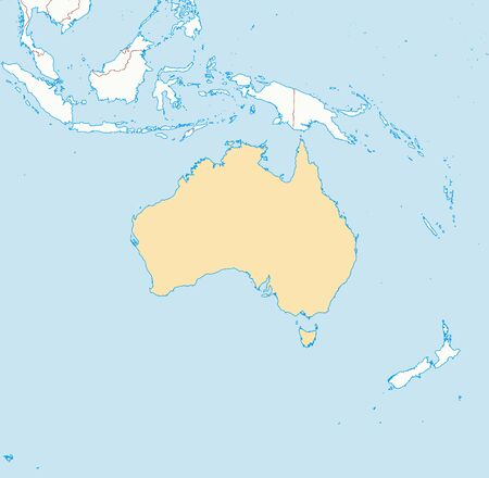 australie: Map of Australia and nearby countries, Australia is highlighted. Illustration