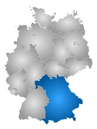 federal republic of germany: Map of Germany with the provinces, filled with a radial gradient, Bavaria is highlighted.