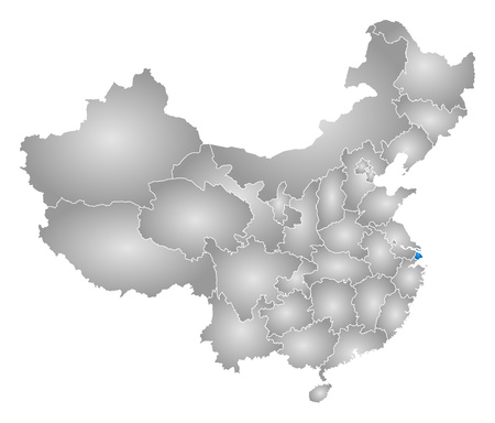 shanghai china: Map of China with the provinces, filled with a radial gradient, Shanghai is highlighted.