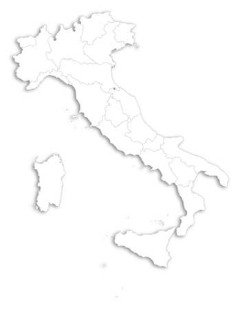 regions: Map of Italy as a white area over its shadow. Illustration