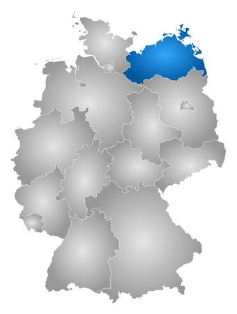 federal republic of germany: Map of Germany with the provinces, filled with a radial gradient, Mecklenburg-Vorpommern is highlighted. Illustration