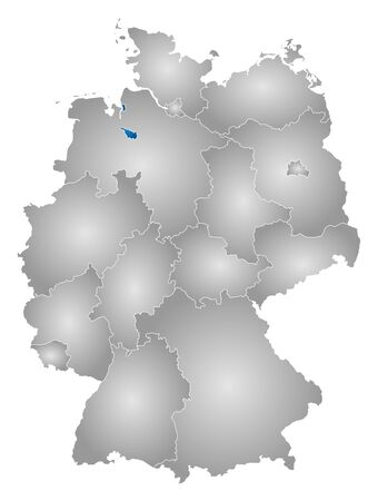 bremen: Map of Germany with the provinces, filled with a radial gradient, Bremen is highlighted.