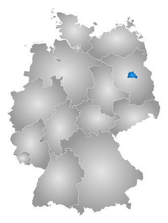 federal republic of germany: Map of Germany with the provinces, filled with a radial gradient, Berlin is highlighted.