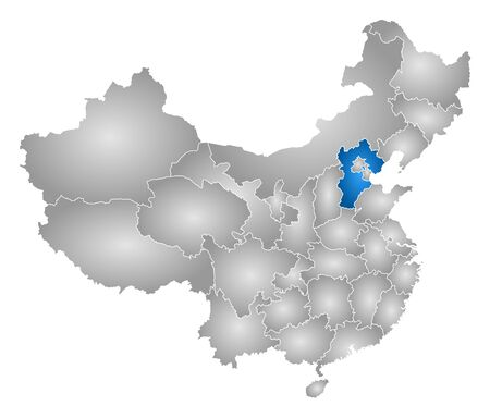 prc: Map of China with the provinces, filled with a radial gradient, Hebei is highlighted. Illustration