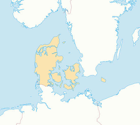 danmark: Map of Danmark and nearby countries, Danmark is highlighted.