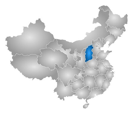 prc: Map of China with the provinces, filled with a radial gradient, Shanxi is highlighted.