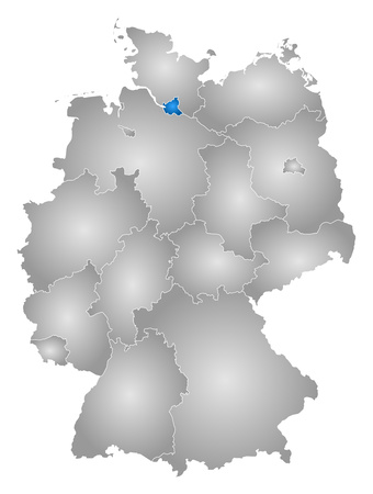 federal republic of germany: Map of Germany with the provinces, filled with a radial gradient, Hamburg is highlighted. Illustration