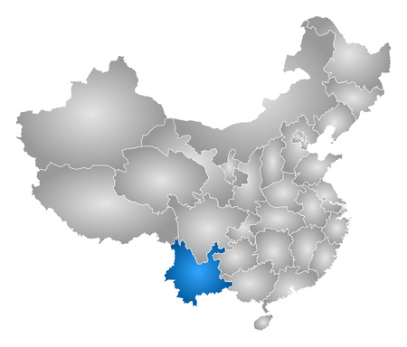 tone shading: Map of China with the provinces, filled with a radial gradient, Yunnan is highlighted.