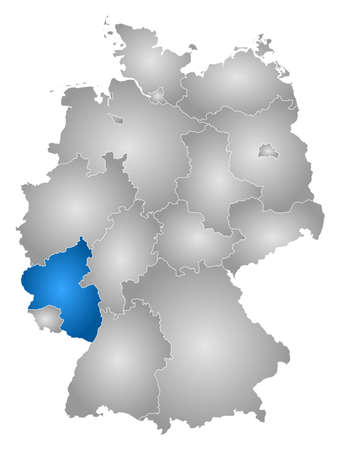 federal republic of germany: Map of Germany with the provinces, filled with a radial gradient, Rhineland-Palatinate is highlighted.