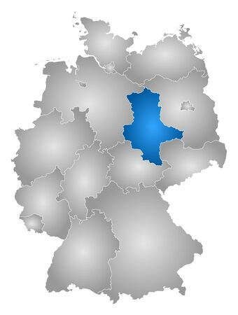 Map of Germany with the provinces, filled with a radial gradient, Saxony-Anhalt is highlighted. Vektoros illusztráció