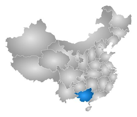 tone shading: Map of China with the provinces, filled with a radial gradient, Guangxi is highlighted.
