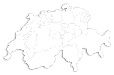 Map of Swizerland as a white area over its shadow.