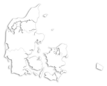 danmark: Map of Danmark as a white area over its shadow.