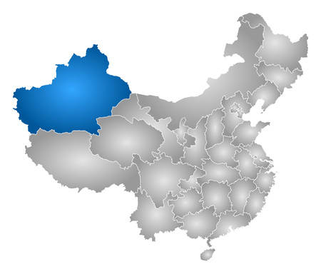 xinjiang: Map of China with the provinces, filled with a radial gradient, Xinjiang is highlighted.