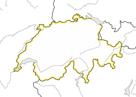 swizerland: Map of Swizerland and nearby countries, Swizerland is highlighted in yellow.