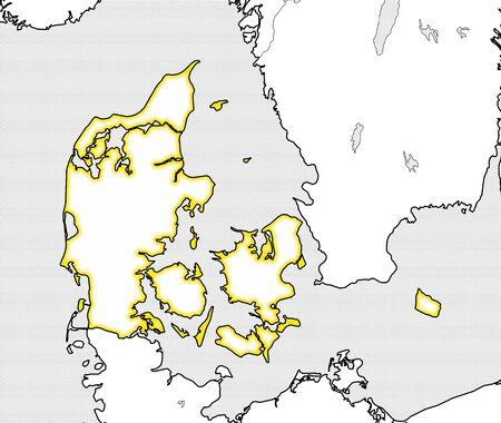danmark: Map of Danmark and nearby countries, Danmark is highlighted in yellow.