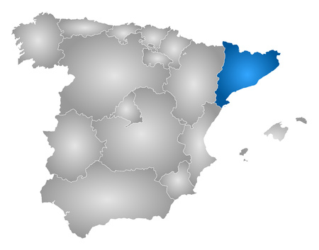 Map Of Spain With The Provinces Filled With A Radial Gradient