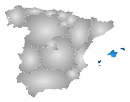 Carte de l'Espagne avec les provinces, rempli d'un gradient radial, les îles Baléares est mis en évidence. Vecteurs