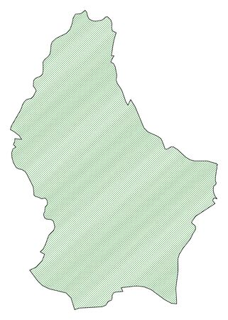 frontiers: Map of Luxembourg, shaded wirh green lines.