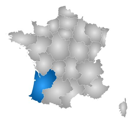 tone shading: Map of France with the provinces, filled with a radial gradient, Aquitaine is highlighted.