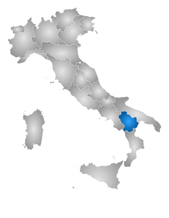 tone shading: Map of Italy with the provinces, filled with a radial gradient, Basilicata is highlighted. Illustration